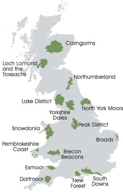 Uk national parks map. 6 best national parks in Britain ...